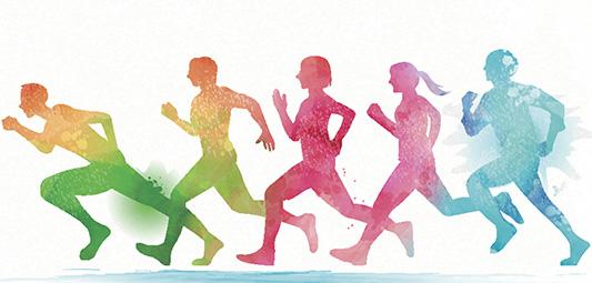 Watercolor running people